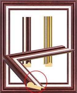 กรอบรูป 2 ชัน สีทองและสีลายไม้โอ๊คแดง