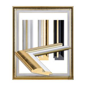 Golden frame, glittering edge in white 2103-1