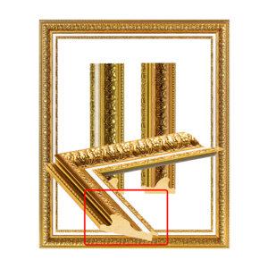 Golden leaf frame with glitter, white border 2007_MAT_S-1