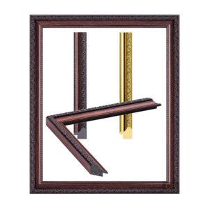 กรอบรูปลายแกะสลัก สีไม้ สีทอง ( 7 หุน)
